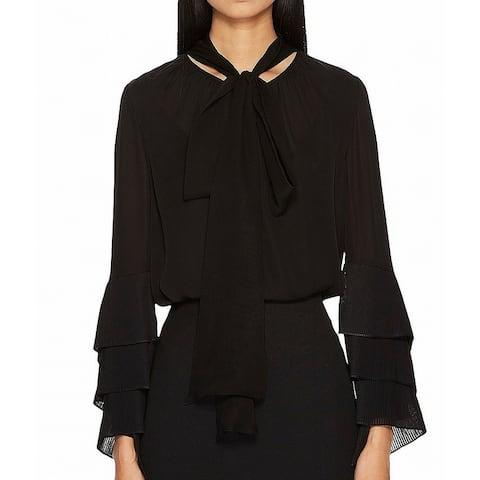 Prabal Gurung Womens Blouse Black 6 Silk Chiffon Tie Neck Bell Sleeve Size - 6