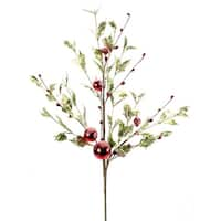 Pack of 12 Frosted Holly Berry Artificial Floral Christmas Sprays 32""