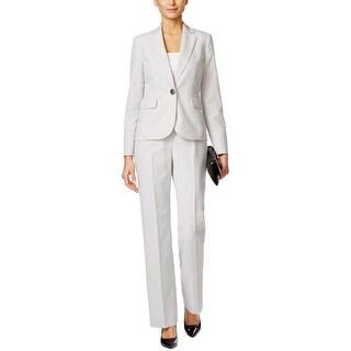 Le Suit Womens Pant Suit Striped Flat Front