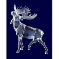"Pack of 4 Icy Crystal Decorative Christmas Moose with Head Up Figurines 10.6"" - CLEAR"