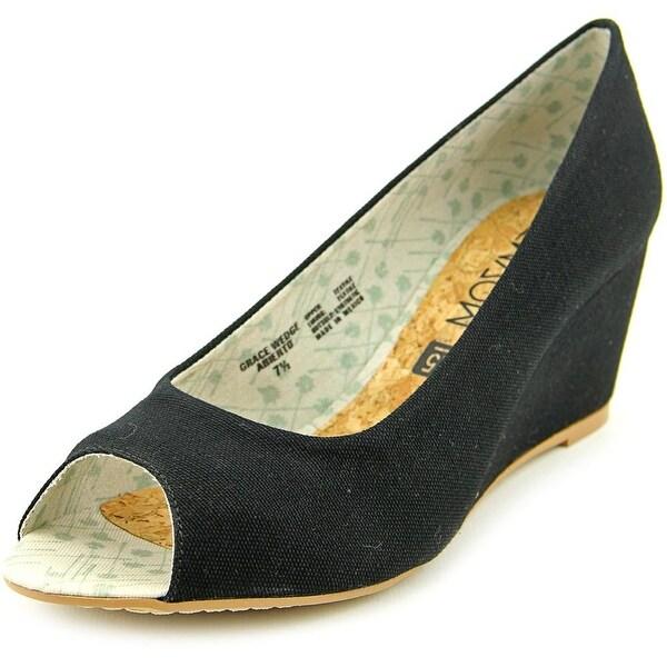 Movmt Grace Wedge Women  Open Toe Canvas Black Wedge Heel
