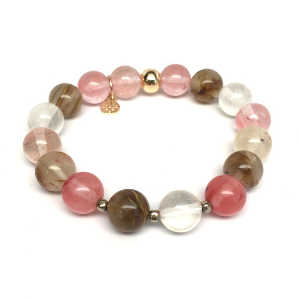 Cherry Quartz Sophia Gold Stretch Bracelet