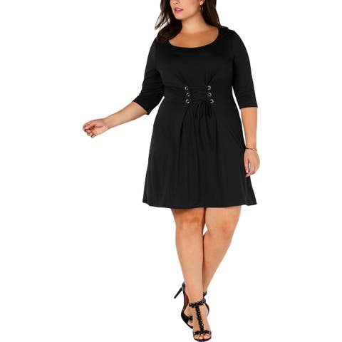 Love Squared Womens Plus Corset Casual Dress Scoop Neck Elbow Sleeves