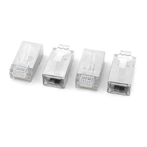 Ethernet Network Lan Cord Modular Connector Cable Head Plug Silver Tone 4pcs