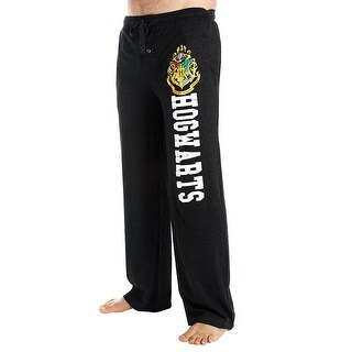 Unisex Adult Harry Potter Hogwarts Lounge Pants - Black Sweatpants