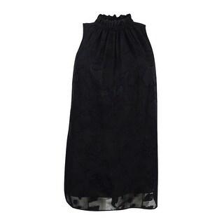 MICHAEL Michael Kors Women's Mock-Neck Jacquard Top (M, Black) - Black - m