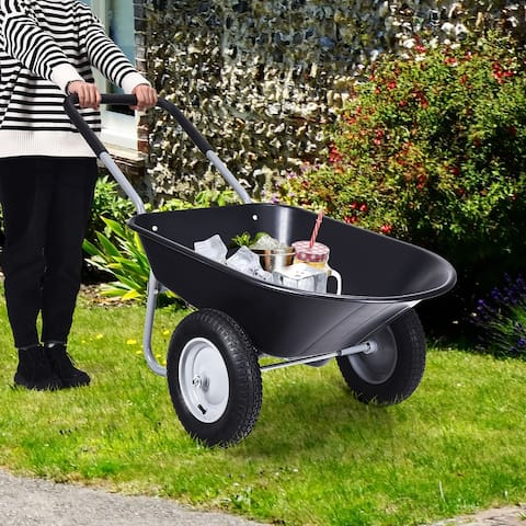 Dual-Wheel Home Utility Wheelbarrow Heavy Duty Garden Cart