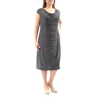 Womens Black Cap Sleeve Below The Knee Sheath Party Dress Size: 20W