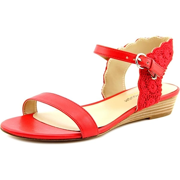 Julianne Hough Robyn Women Open Toe Leather Red Wedge Sandal
