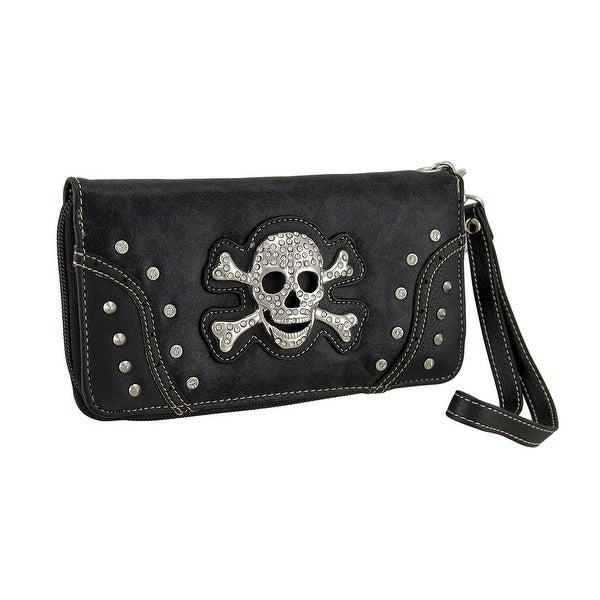Rhinestone Skull Foil Fabric Wallet w/Removable Wrist Strap