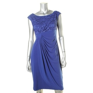 Connected Apparel Womens Lined Lace Cocktail Dress - 8