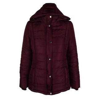 Rampage Juniors Eggplant Purple Hooded Full Zip And Snap Puffer Coat XS