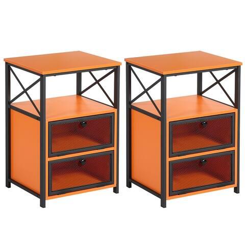 VECELO Screen Door and Two Shelves Nightstands/Side table(Set of 2)