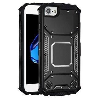 For Apple iPhone 7/8/SE (2020) Black Metal Hybrid Hard TPU Plastic Case Cover