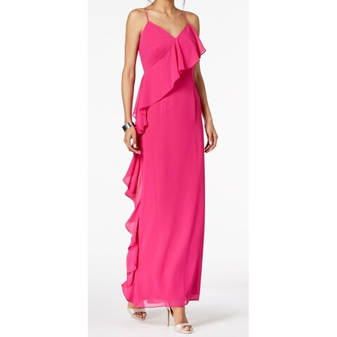 Vince Camuto Pink Women's Size 14 Ruffle Trim V-Neck Gown Dress