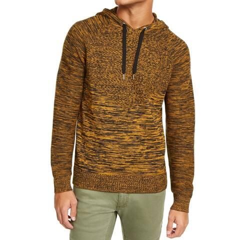 INC Mens Sweater Yellow Black Size 3XL B&T Spacedye Knit Raglan Hoodie