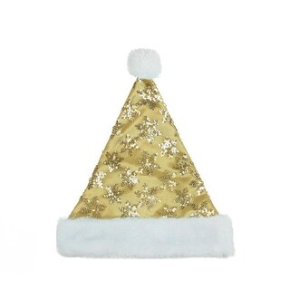 "14"" Gold Sequin Snowflake Christmas Santa Hat with White Faux Fur Brim - Medium Adult Size"