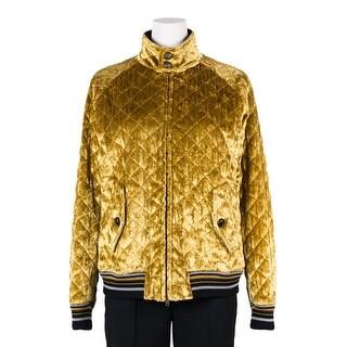 Maison Margiela Womens Velvet Gold Quilted Bomber Jacket