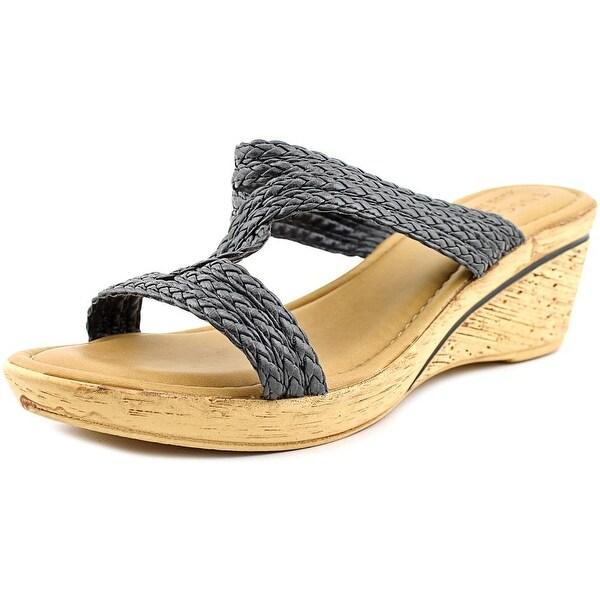 Easy Street Loano Women Open Toe Synthetic Black Wedge Sandal