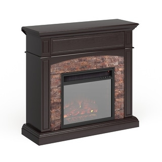 Copper Grove Ebony Faux Stone Corner Electric Media Fireplace