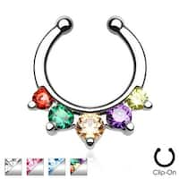 Five Paved Gem Non-Piercing Septum Hanger (Sold Individually)