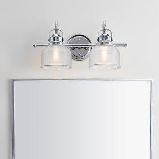 Link to Virginia Metal/Glass LED Vanity Light, Chrome by JONATHAN  Y Similar Items in Bathroom Vanity Lights