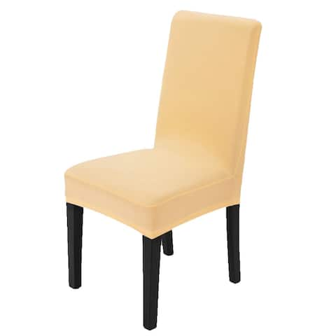 Unique Bargains Dining Chair Protector Cover Slipcovers Champagne Color