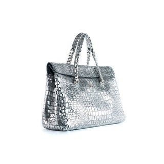 Roberto Cavalli Womens Metallic Silver Croc-Embossed Satchel Bag - M
