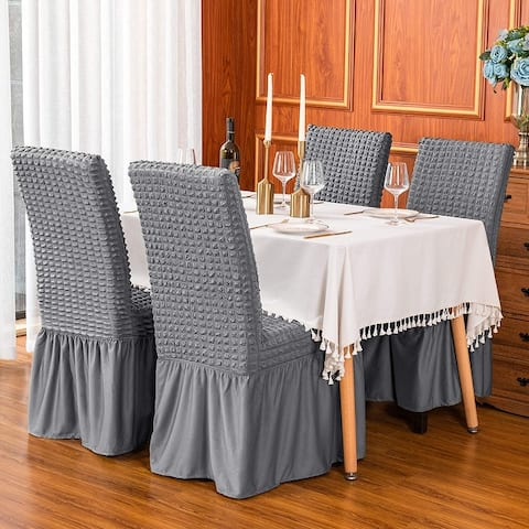 Subrtex Set-of-2 Stretch Dining Chair Cover Ruffle Skirt Slipcovers