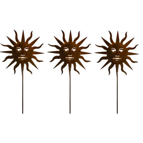 California Home and Garden Set of 3 Metal Sun Picks for Plants, 20 Inch Tall, Rustic Look Artwork