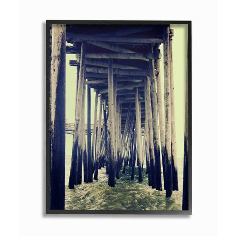 Stupell Industries Wind Waves under Distressed Pier Antique Scene Framed Wall Art - Multi-Color
