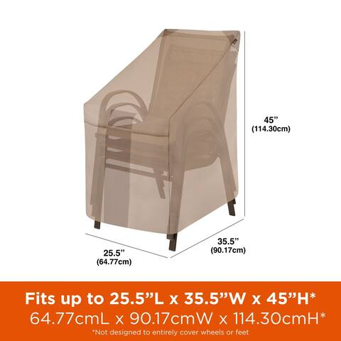 "Modern Leisure Monterey Outdoor Patio Stacking Chair Cover, 25.5"" W x 35.5"" D x 45"" H, Beige"