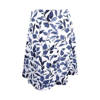 Nine West Women's Plus Size Floral Print A-Line Skirt - Navy Multi