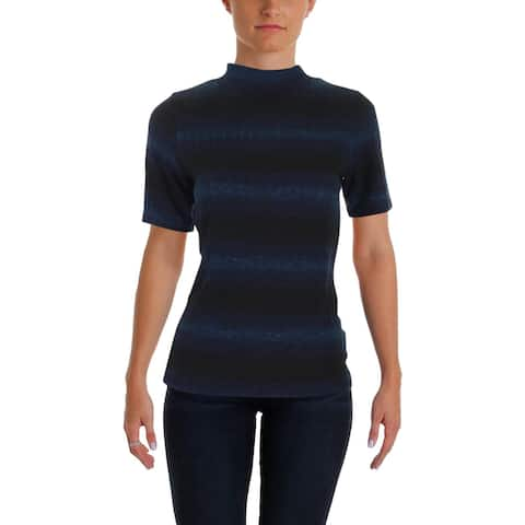 Aqua Womens Casual Top Striped Mock Neck