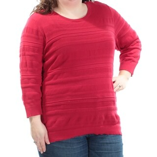 KAREN SCOTT Womens New 1246 Red Textured Long Sleeve Jewel Neck Top 2X Plus B+B
