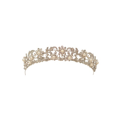 Girls Women Rhodium Crystals Pearls Tiara Headpiece