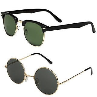 Set of 2 Pairs - Classic Clubmaster & Lennon Style Sunglasses