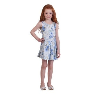 Pulla Bulla Little Girl Pleated Sleeveless Floral Dress