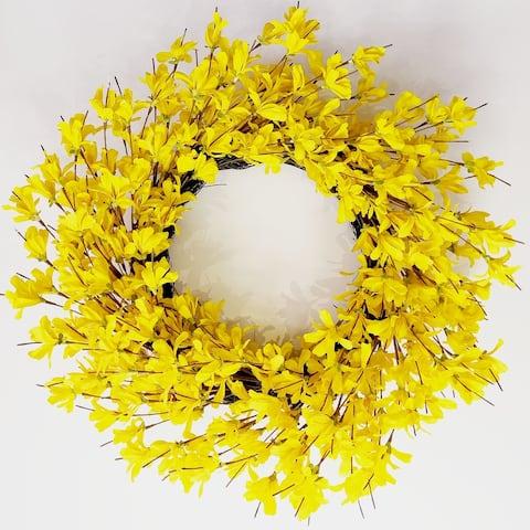 """Glitzhome 24""""D Forsythia Wreath"""