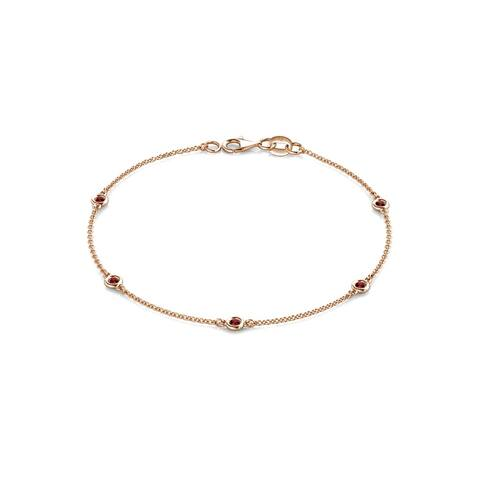TriJewels 5 Stone Petite Gemstone Womens Station Bracelet 14K Gold