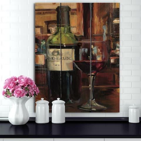 Designart 'A Reflection of Wine Bottle I' Food and Beverage Print on Natural Pine Wood - Black