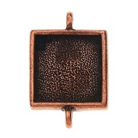 Nunn Design Bezel Pendant Link, Square 16mm, 1 Piece,  Antique Copper Plated