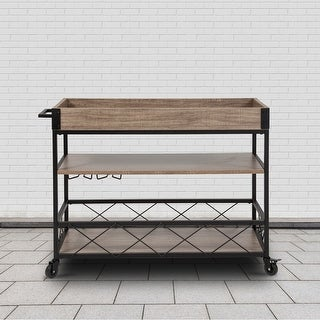 Link to Aged Lt Oak Wood Kitchen Bar Cart with Stemware Rack & Panel Border Bottom Shelf Similar Items in Kitchen Carts