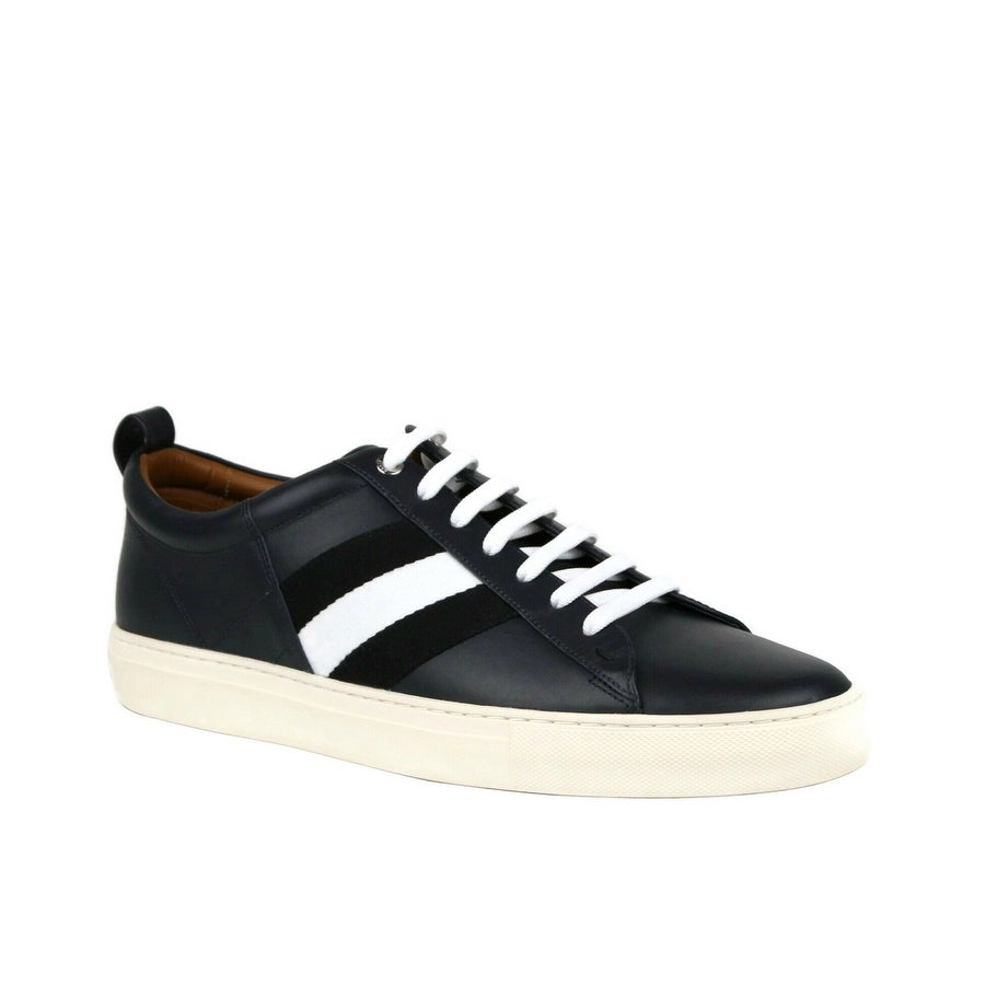 Navy Blue Lamb Leather Sneakers