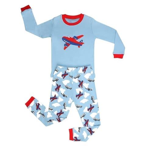 Elowel Boys Blue Airplane Print Long Sleeve Cotton 2 Pc Pajama Set