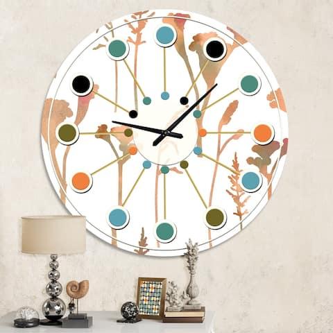 Designart 'Retro Handdrawn Flowers I' Mid-Century wall clock