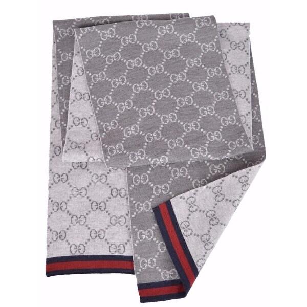 "Gucci 325806 Wool Grey Reversible GG Guccissima Blue Red Web Scarf Muffler - 70"" x 10"""