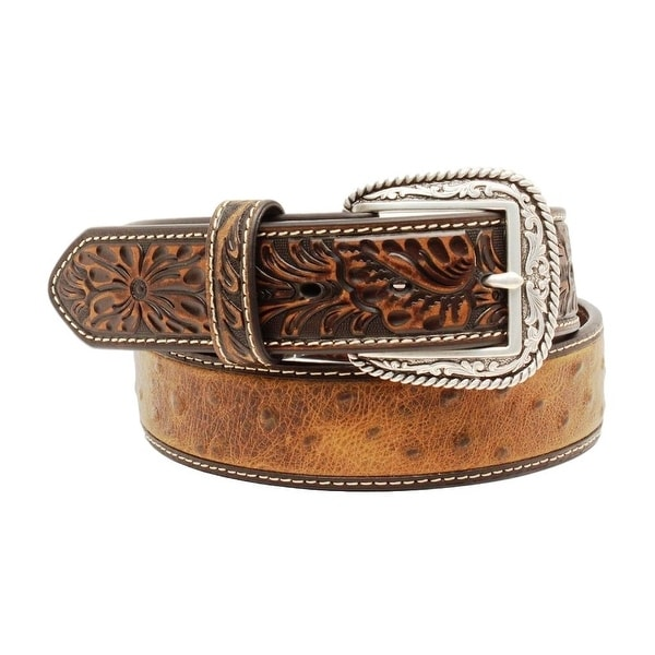 Ariat Western Belt Mens Ostrich Tooled Leather Brown