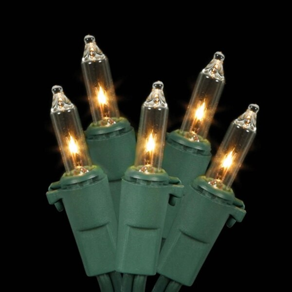 Set of 35 Clear Mini Christmas Lights - Green Wire