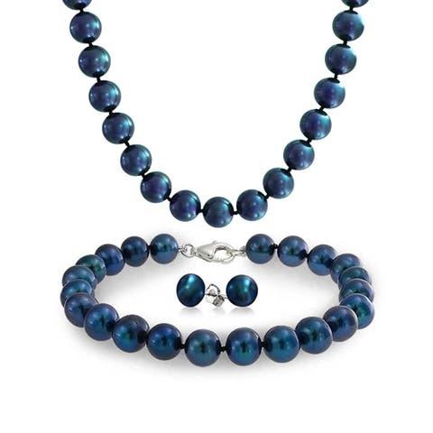 Freshwater Cultured Pearl Strand Necklace Bracelet Earrings Set